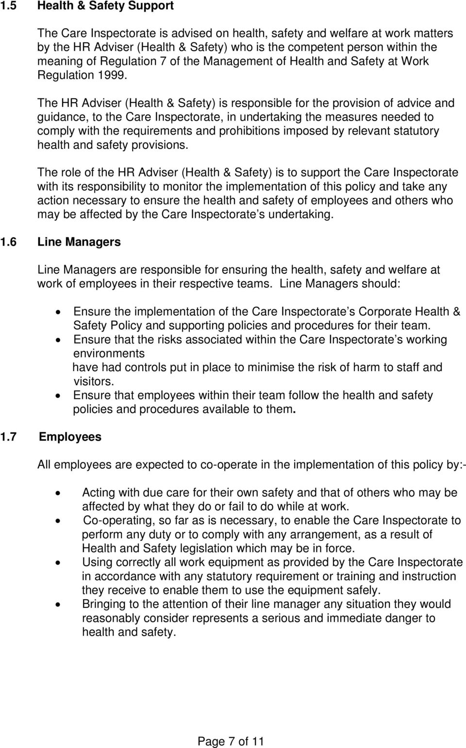 health and safety policy statement pdf