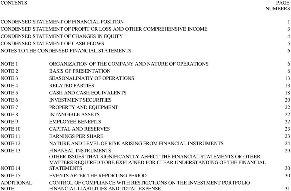 EQUIVALENTS 18 NOTE 6 INVESTMENT SECURITIES 20 NOTE 7 PROPERTY AND EQUIPMENT 22 NOTE 8 INTANGIBLE ASSETS 22 NOTE 9 EMPLOYEE BENEFITS 22 NOTE 10 CAPITAL AND RESERVES 23 NOTE 11 EARNINGS PER SHARE 23