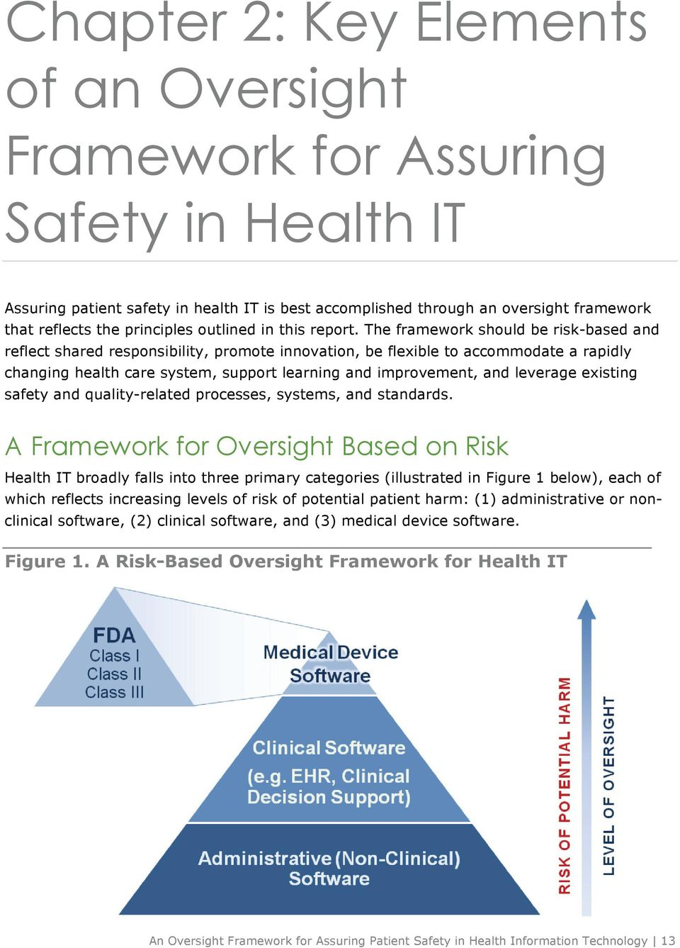 The framework should be risk-based and reflect shared responsibility, promote innovation, be flexible to accommodate a rapidly changing health care system, support learning and improvement, and