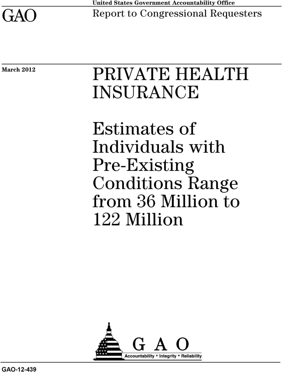 HEALTH INSURANCE Estimates of Individuals with