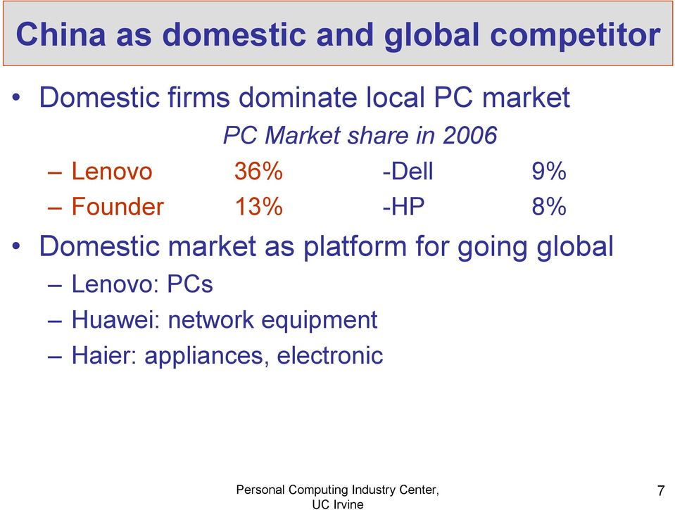 Founder 13% -HP 8% Domestic market as platform for going global