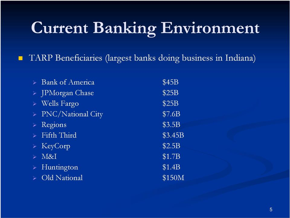 Fargo $25B PNC/National City $7.6B Regions $3.