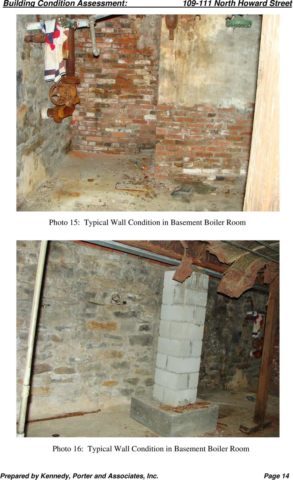 Wall Condition in Basement Boiler Room
