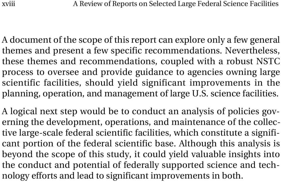 improvements in the planning, operation, and management of large U.S. science facilities.