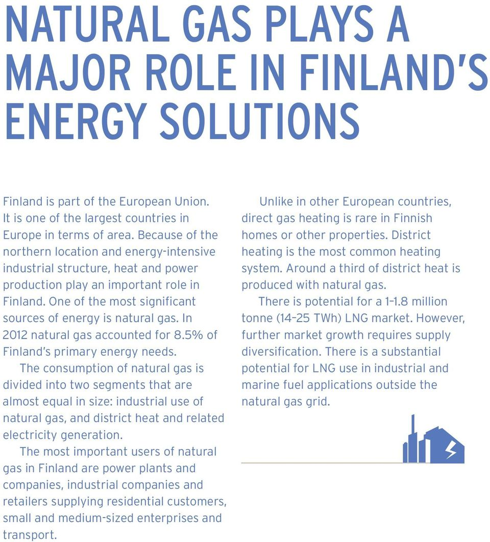 In 2012 natural gas accounted for 8.5% of Finland s primary energy needs.