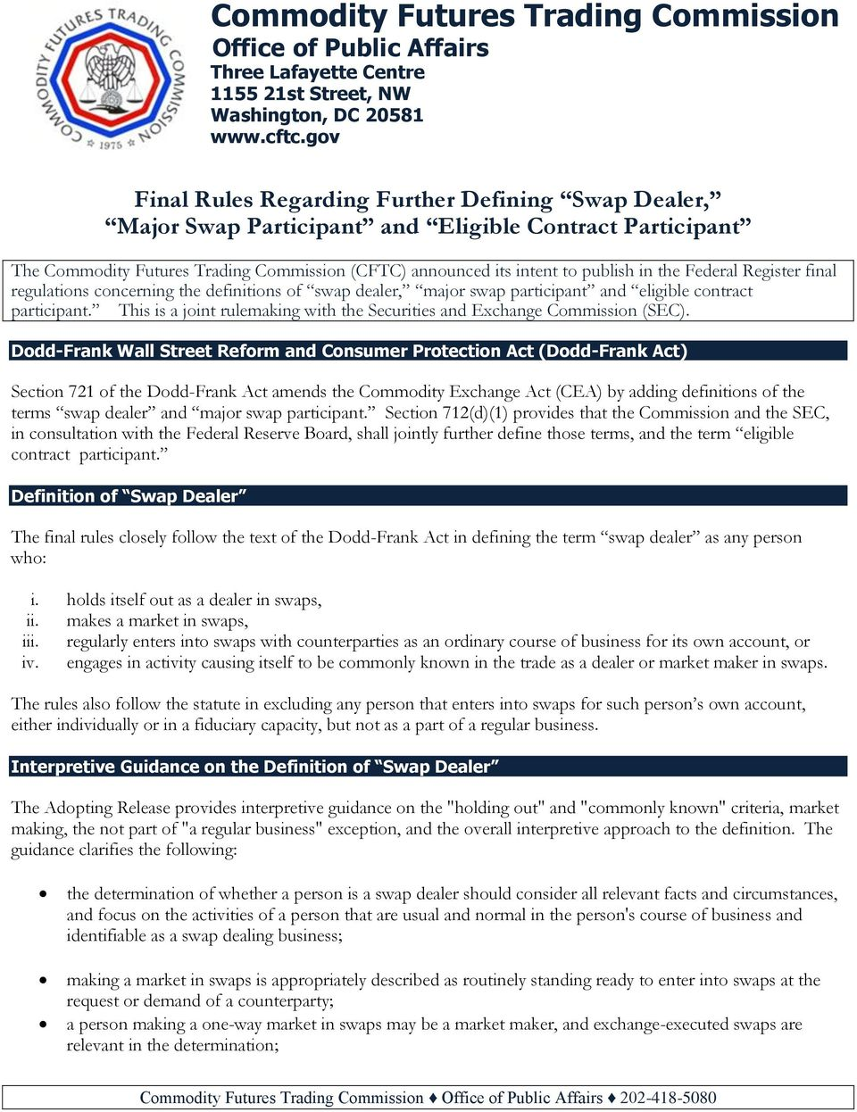 Federal Register final regulations concerning the definitions of swap dealer, major swap participant and eligible contract participant.