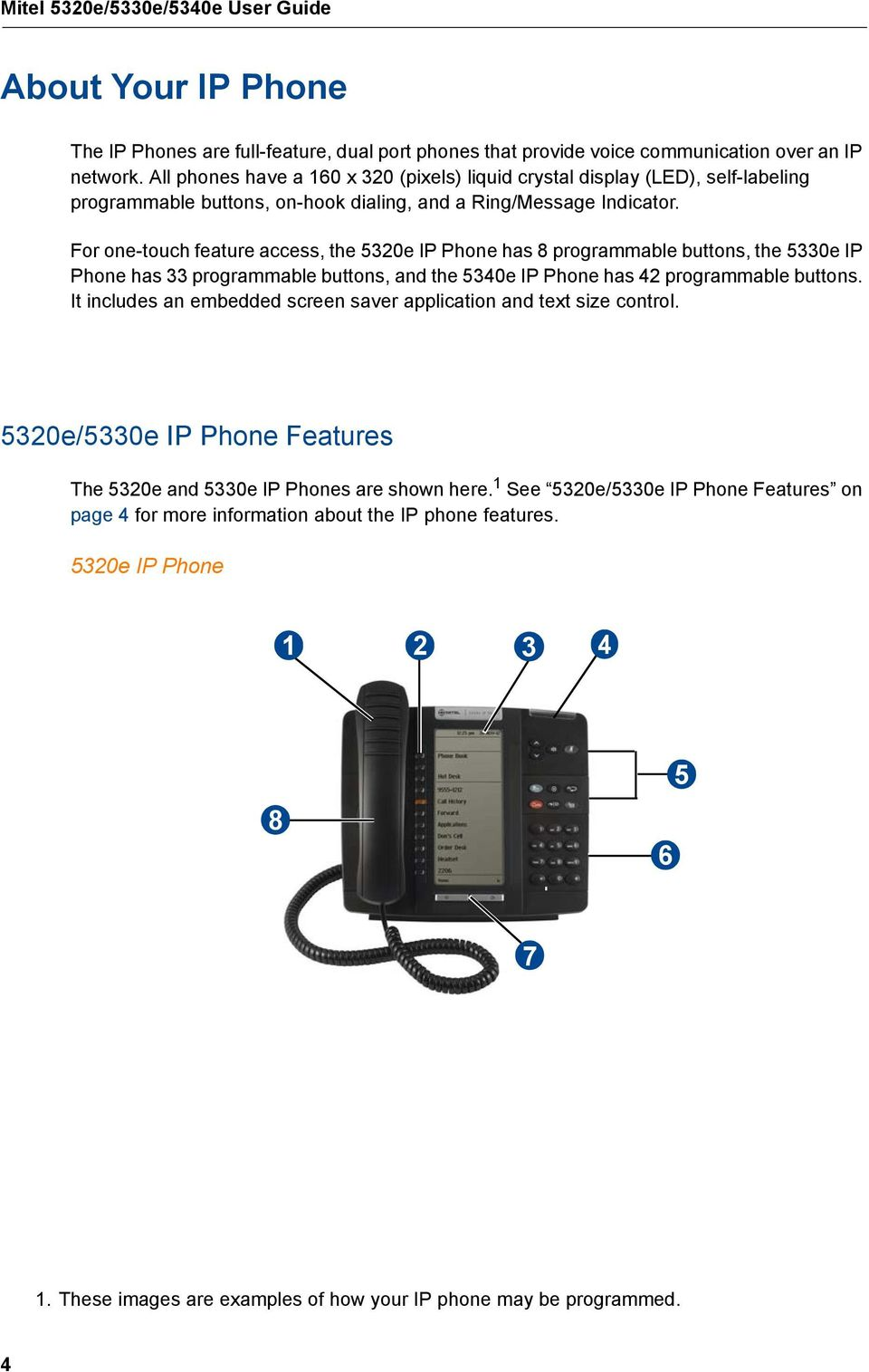 For one-touch feature access, the 5320e IP Phone has 8 programmable buttons, the 5330e IP Phone has 33 programmable buttons, and the 5340e IP Phone has 42 programmable buttons.