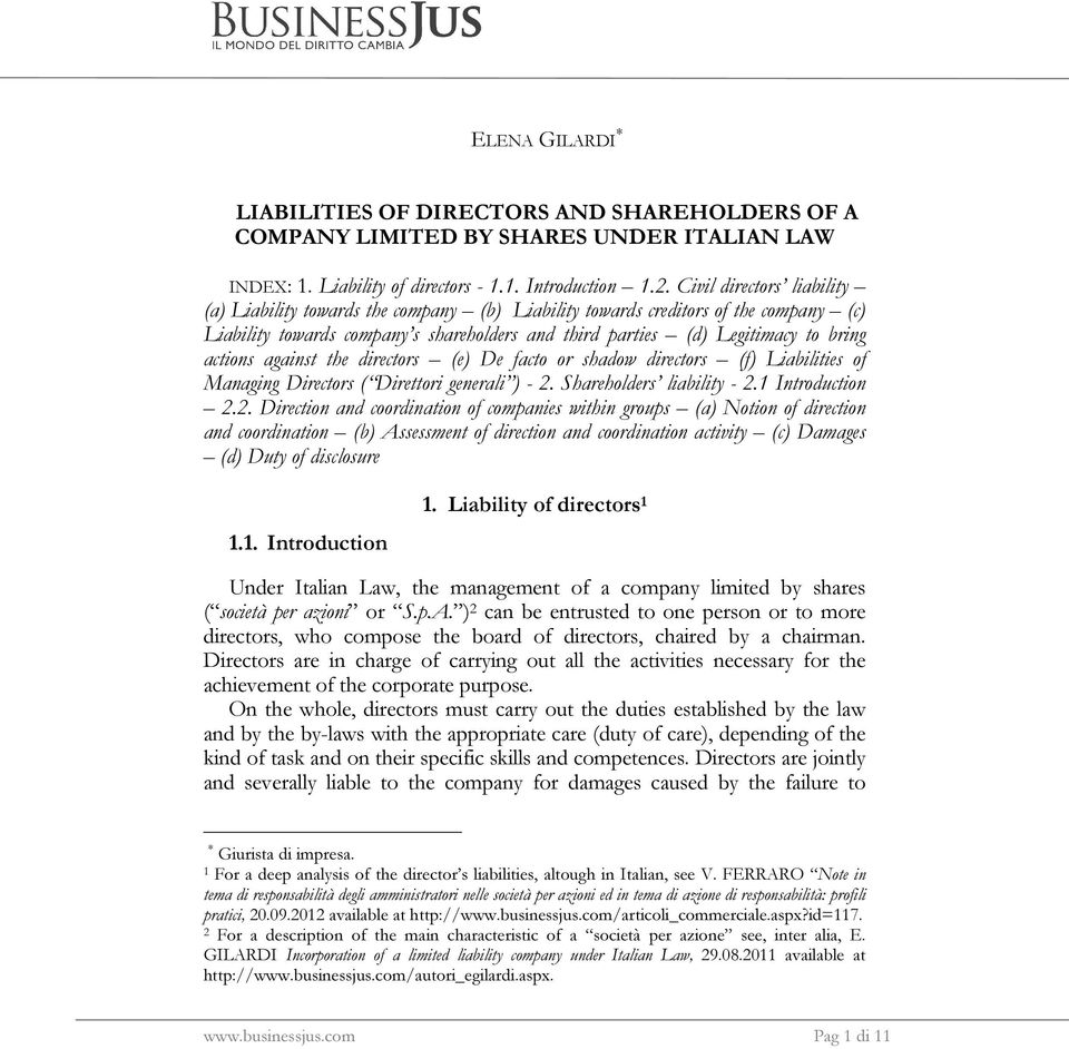 actions against the directors (e) De facto or shadow directors (f) Liabilities of Managing Directors ( Direttori generali ) - 2.