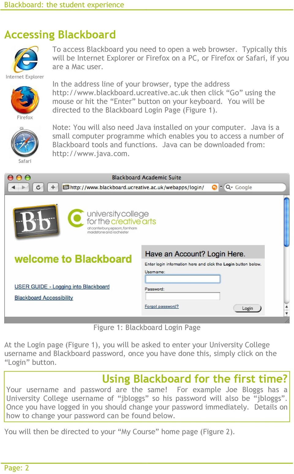 You will be directed to the Blackboard Login Page (Figure 1). Note: You will also need Java installed on your computer.