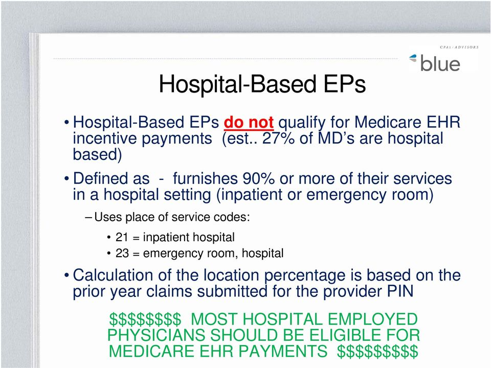 emergency room) Uses place of service codes: 21 = inpatient hospital 23 = emergency room, hospital Calculation of the location