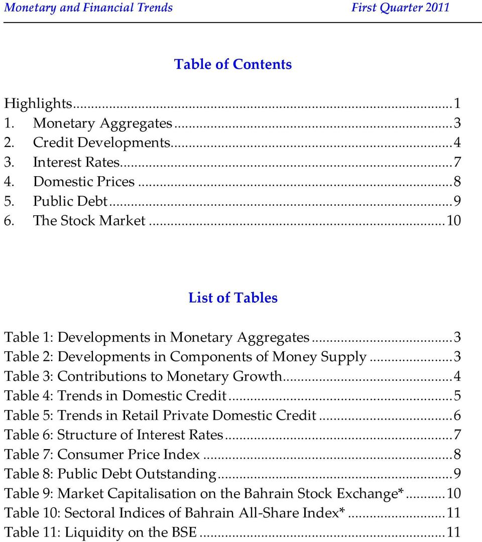 .. 4 Table 4: Trends in Domestic Credit... 5 Table 5: Trends in Retail Private Domestic Credit... 6 Table 6: Structure of Interest Rates... 7 Table 7: Consumer Price Index.