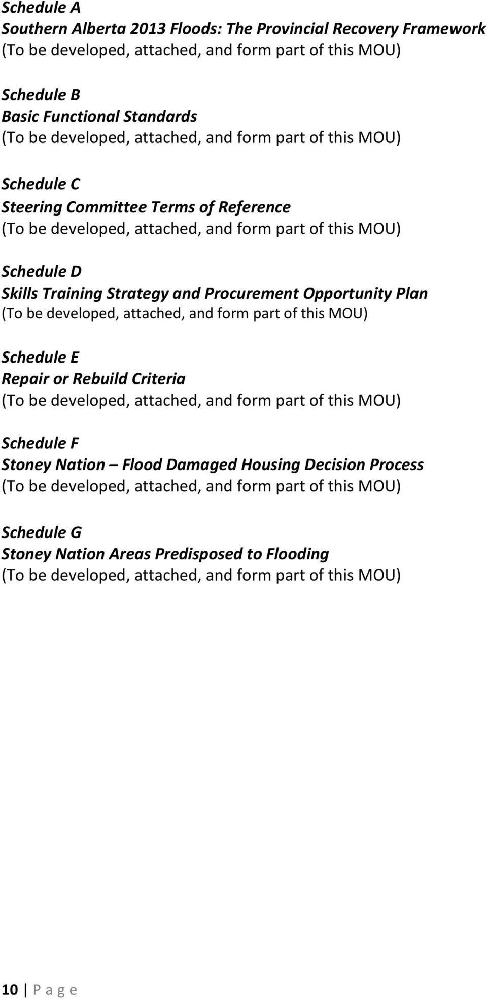 Strategy and Procurement Opportunity Plan Schedule E Repair or Rebuild Criteria Schedule F Stoney
