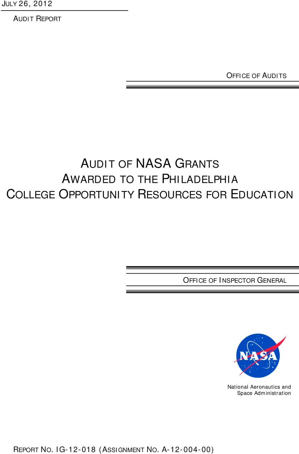 EDUCATION OFFICE OF INSPECTOR GENERAL National Aeronautics and
