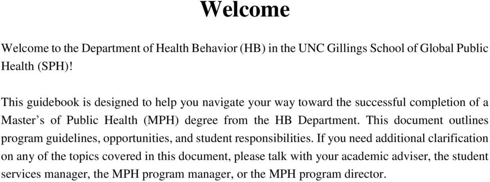 HB Department. This document outlines program guidelines, opportunities, and student responsibilities.