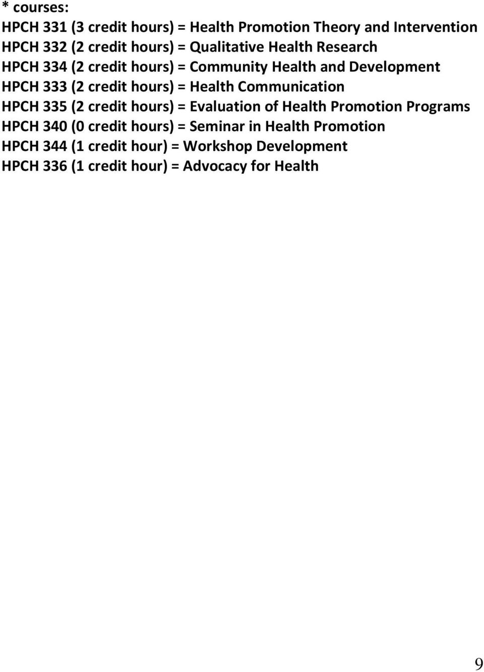 Health Communication 335 (2 credit hours) = Evaluation of Health Promotion Programs 340 (0 credit hours) =
