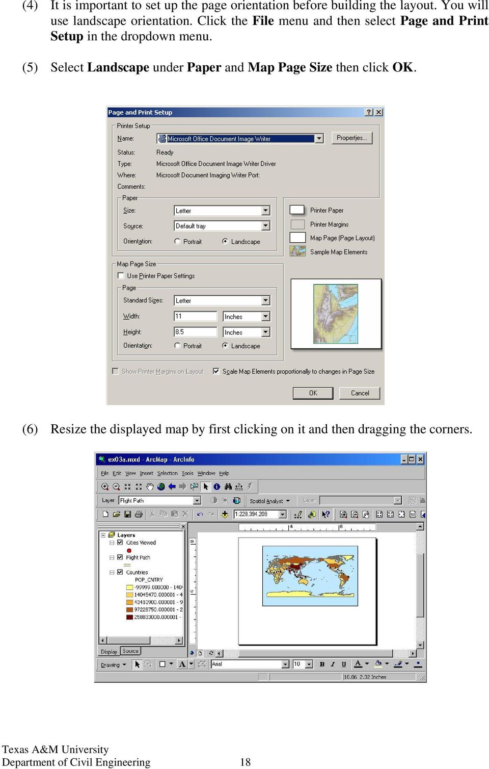 Click the File menu and then select Page and Print Setup in the dropdown menu.