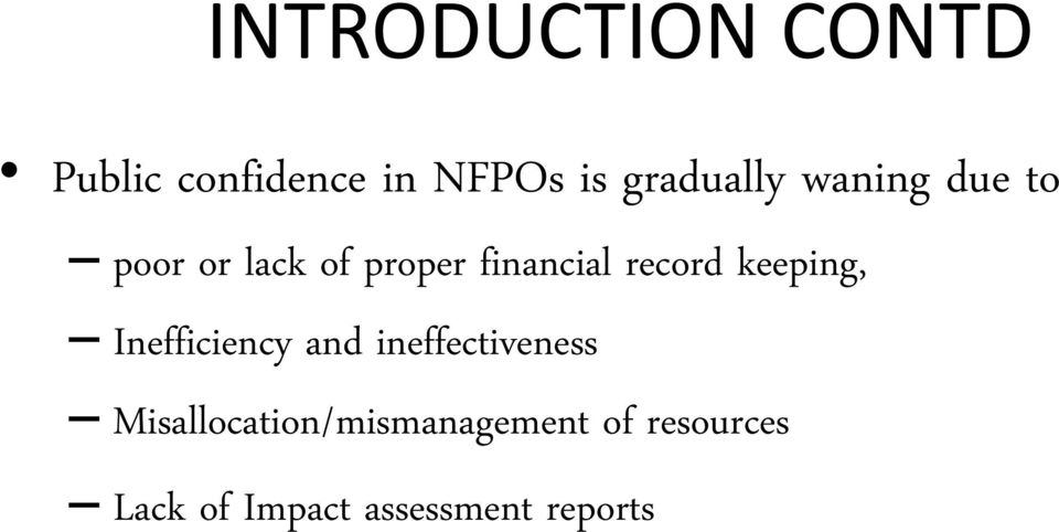 record keeping, Inefficiency and ineffectiveness