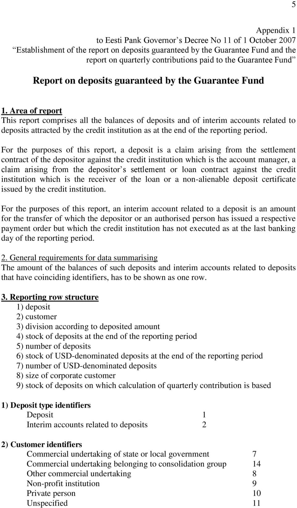 Area of report This report comprises all the balances of deposits and of interim accounts related to deposits attracted by the credit institution as at the end of the reporting period.