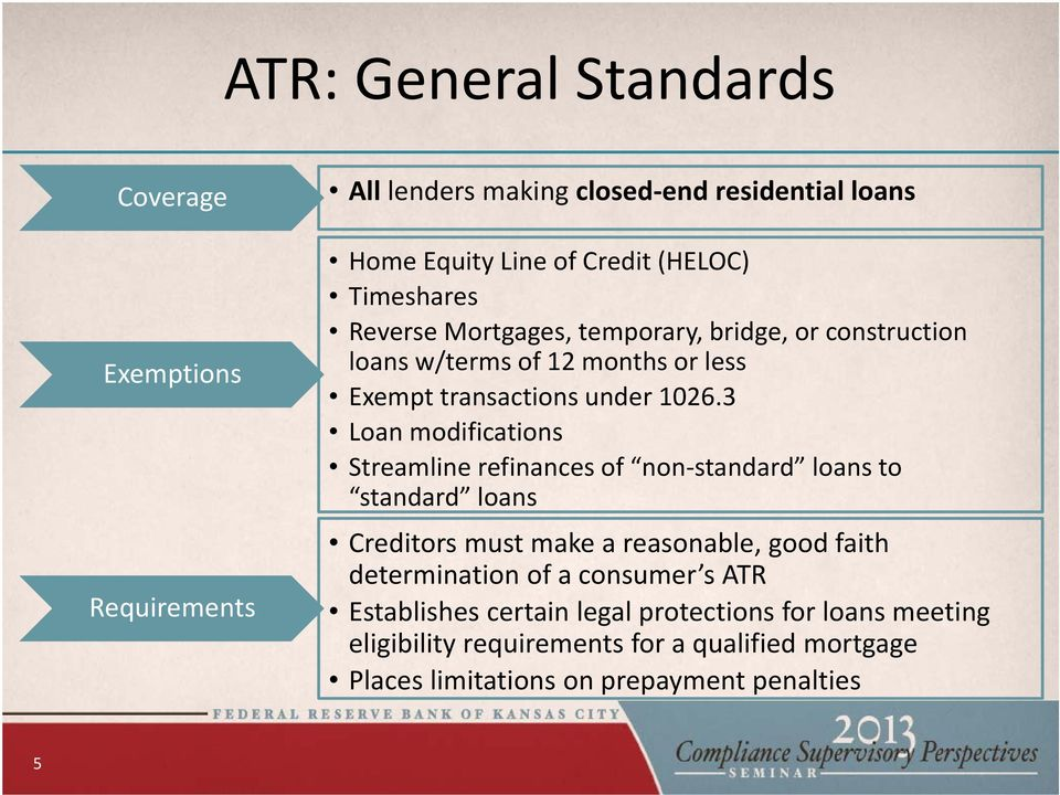 3 Loan modifications Streamline refinances of non standard loans to standard loans Creditors must make a reasonable, good faith determination of