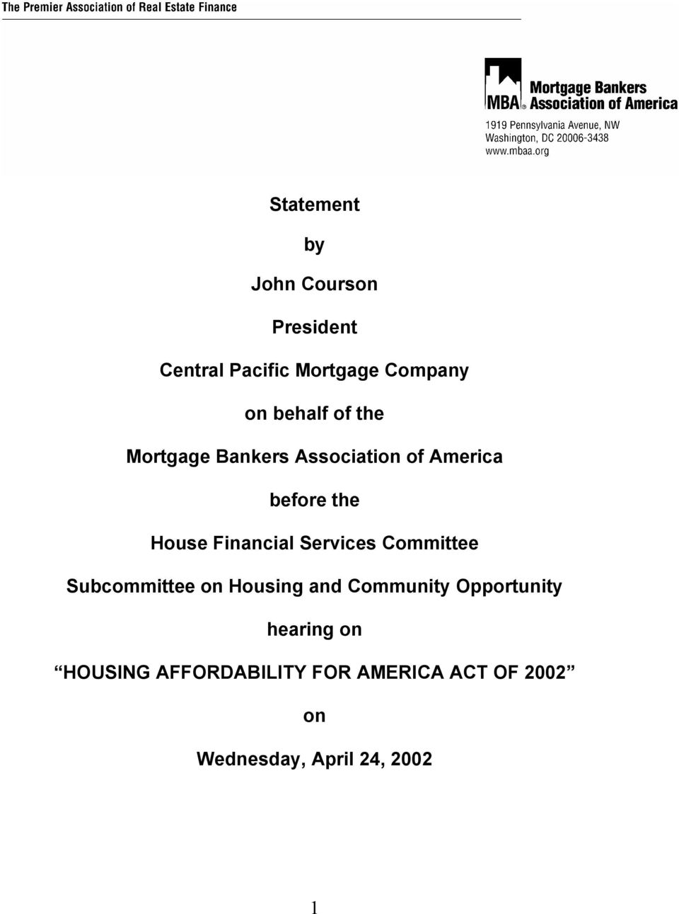 Financial Services Committee Subcommittee on Housing and Community