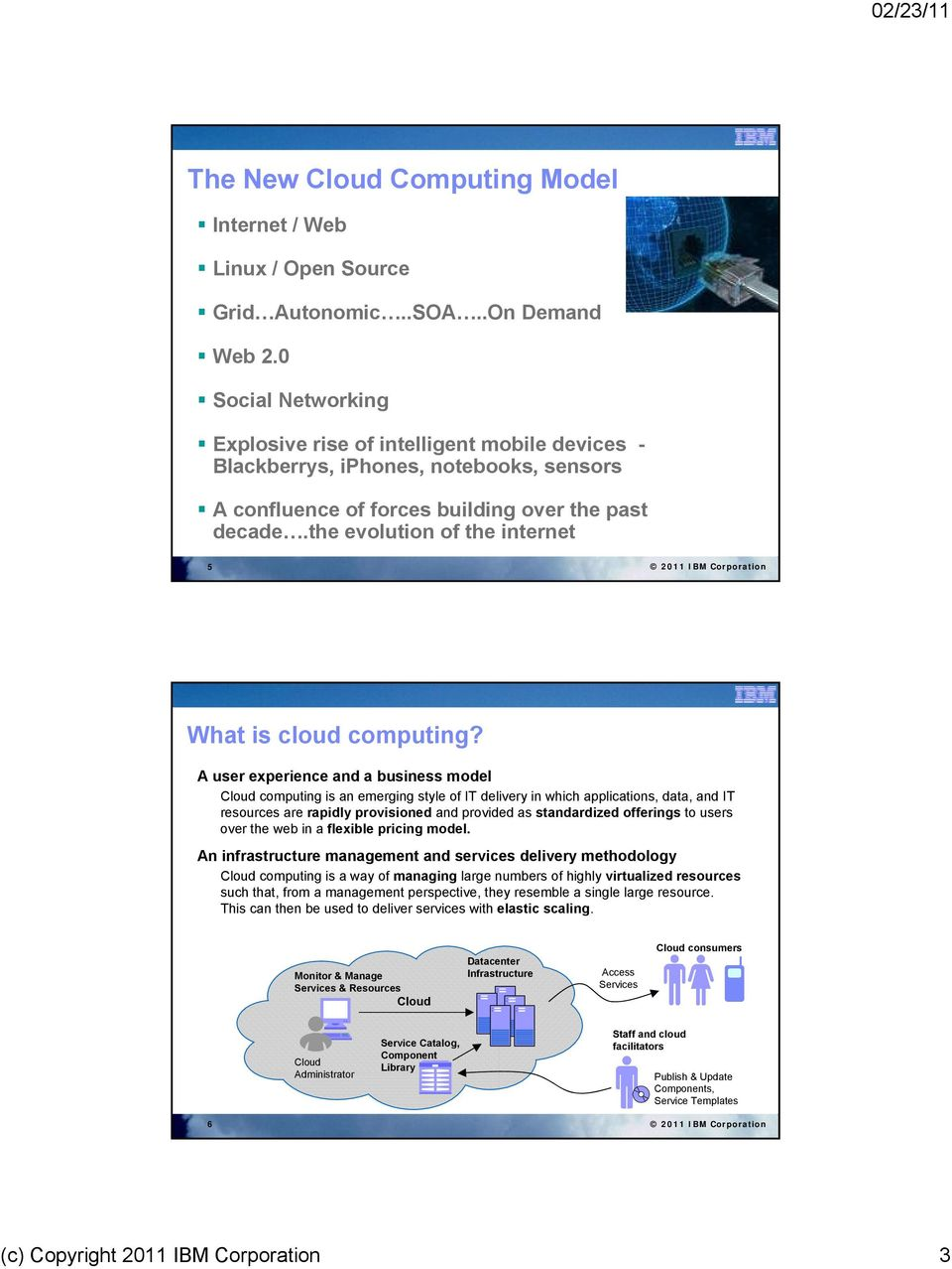 the evolution of the internet 5 2011 IBM Corporation What is cloud computing?