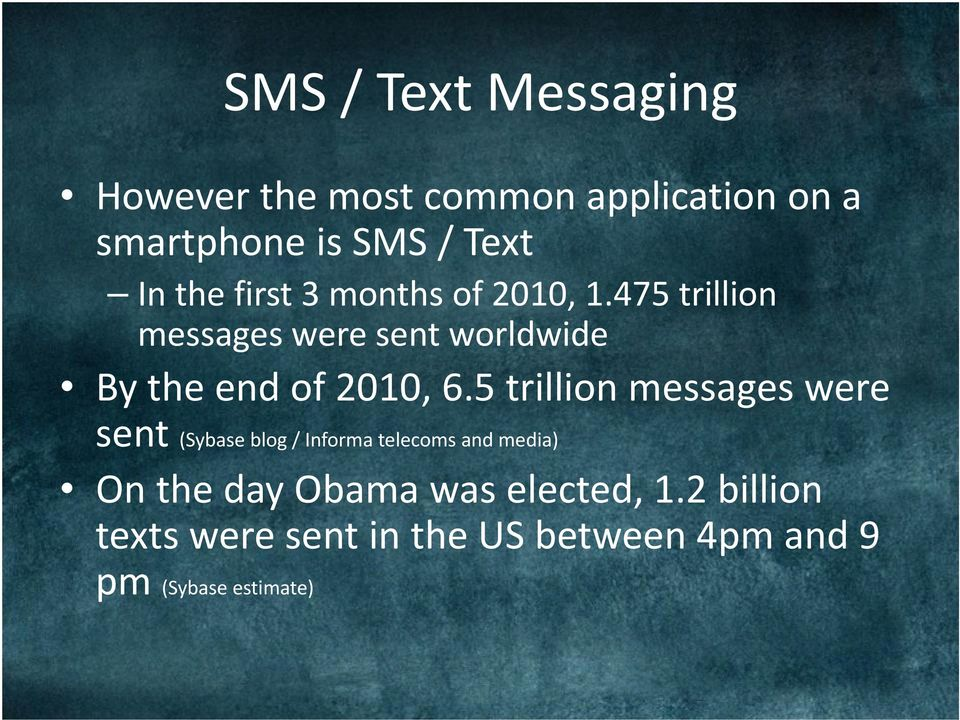 475 trillion messages were sent worldwide By the end of 2010, 6.