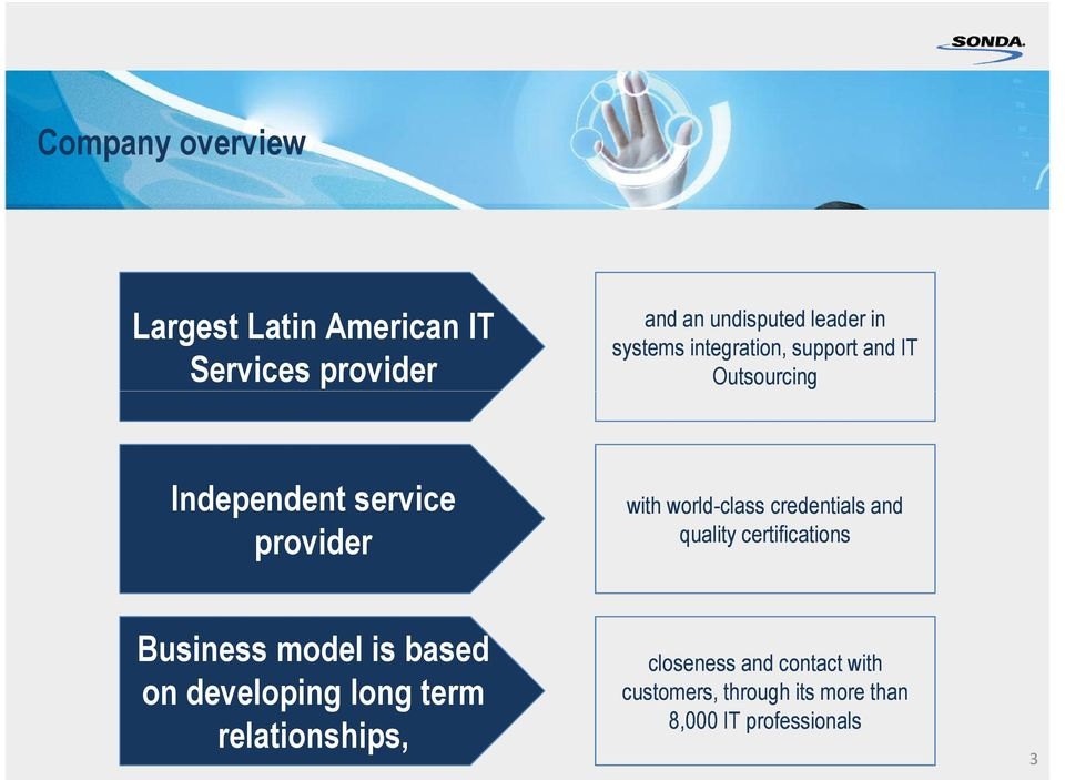 world-class credentials and quality certifications Business model is based on developing