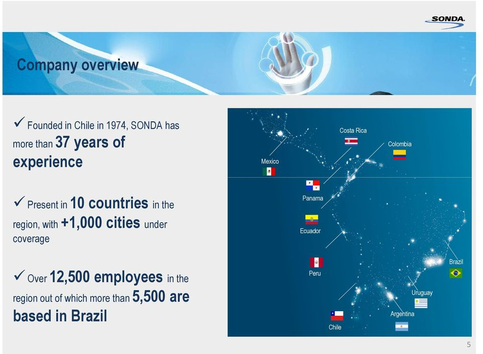 region, with +1,000 cities under coverage Ecuador Brazil Over 12,500 employees