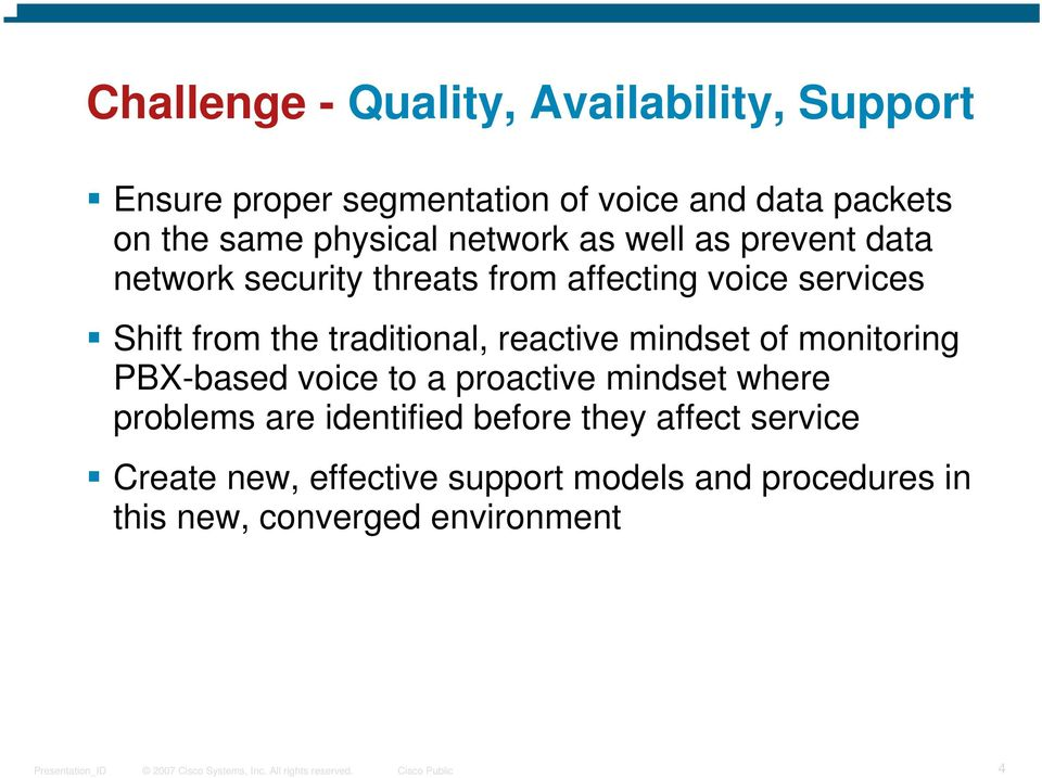 traditional, reactive mindset of monitoring PBX-based voice to a proactive mindset where problems are