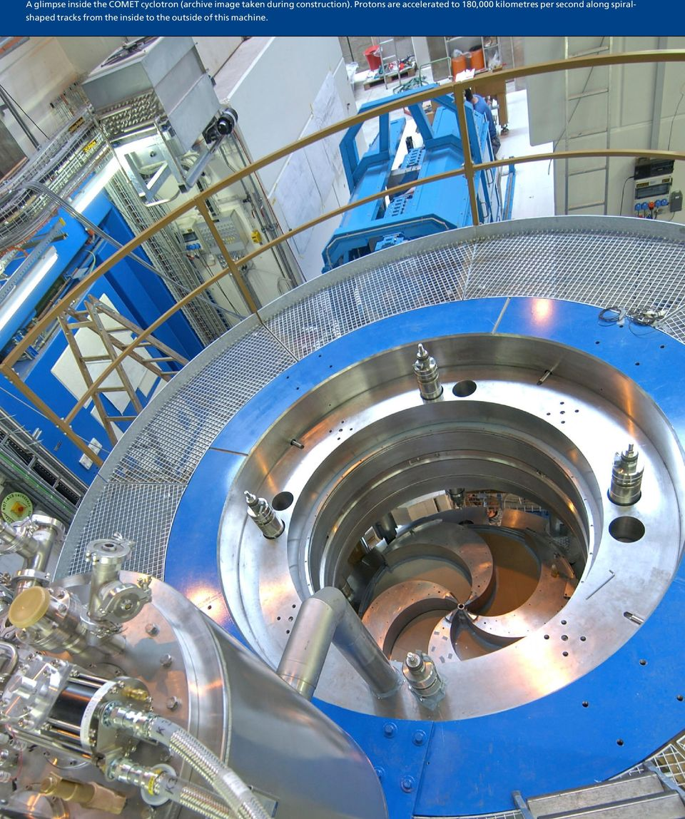 Protons are accelerated to 180,000 kilometres per
