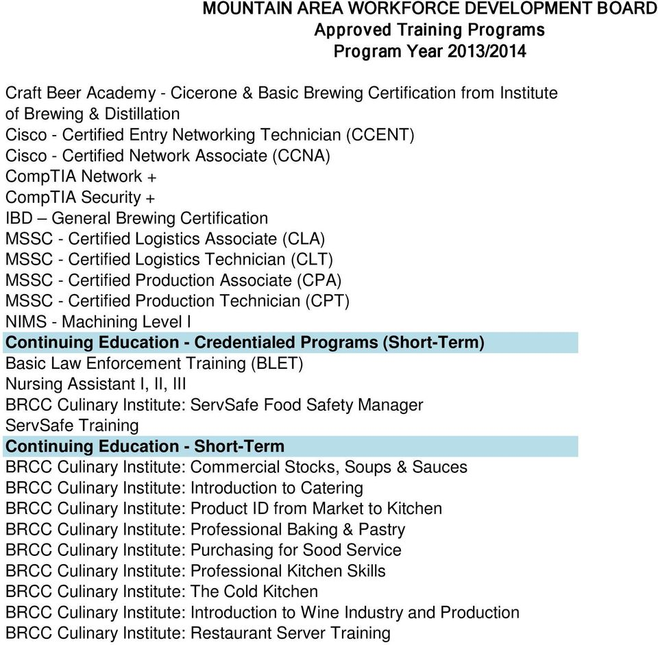 (CPA) MSSC - Certified Production Technician (CPT) NIMS - Machining Level I Continuing Education - Credentialed Programs (Short-Term) Basic Law Enforcement Training (BLET) Nursing Assistant I, II,