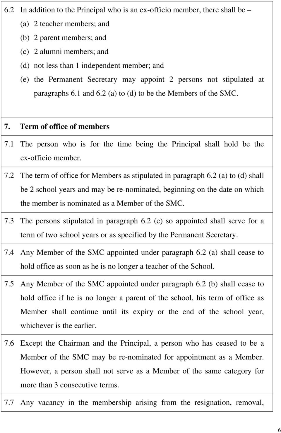 1 The person who is for the time being the Principal shall hold be the ex-officio member. 7.2 The term of office for Members as stipulated in paragraph 6.