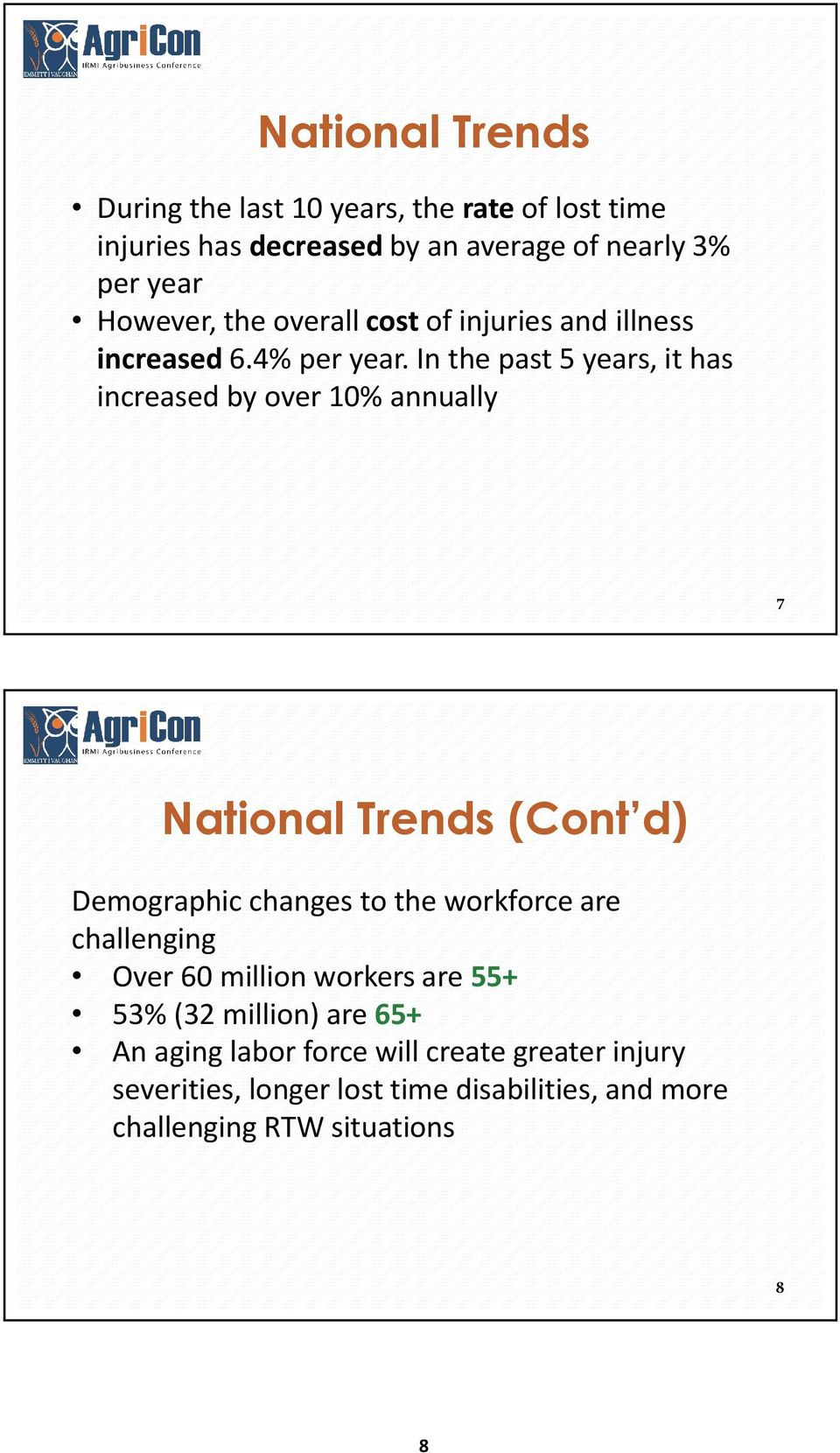 In the past 5 years, it has increased by over 10% annually 7 National Trends (Cont d) Demographic changes to the workforce are