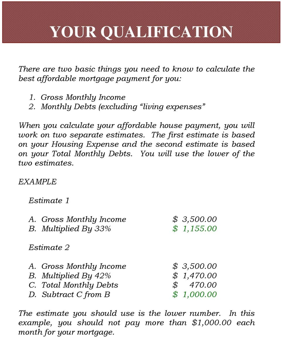 The first estimate is based on your Housing Expense and the second estimate is based on your Total Monthly Debts. You will use the lower of the two estimates. EXAMPLE Estimate 1 A.