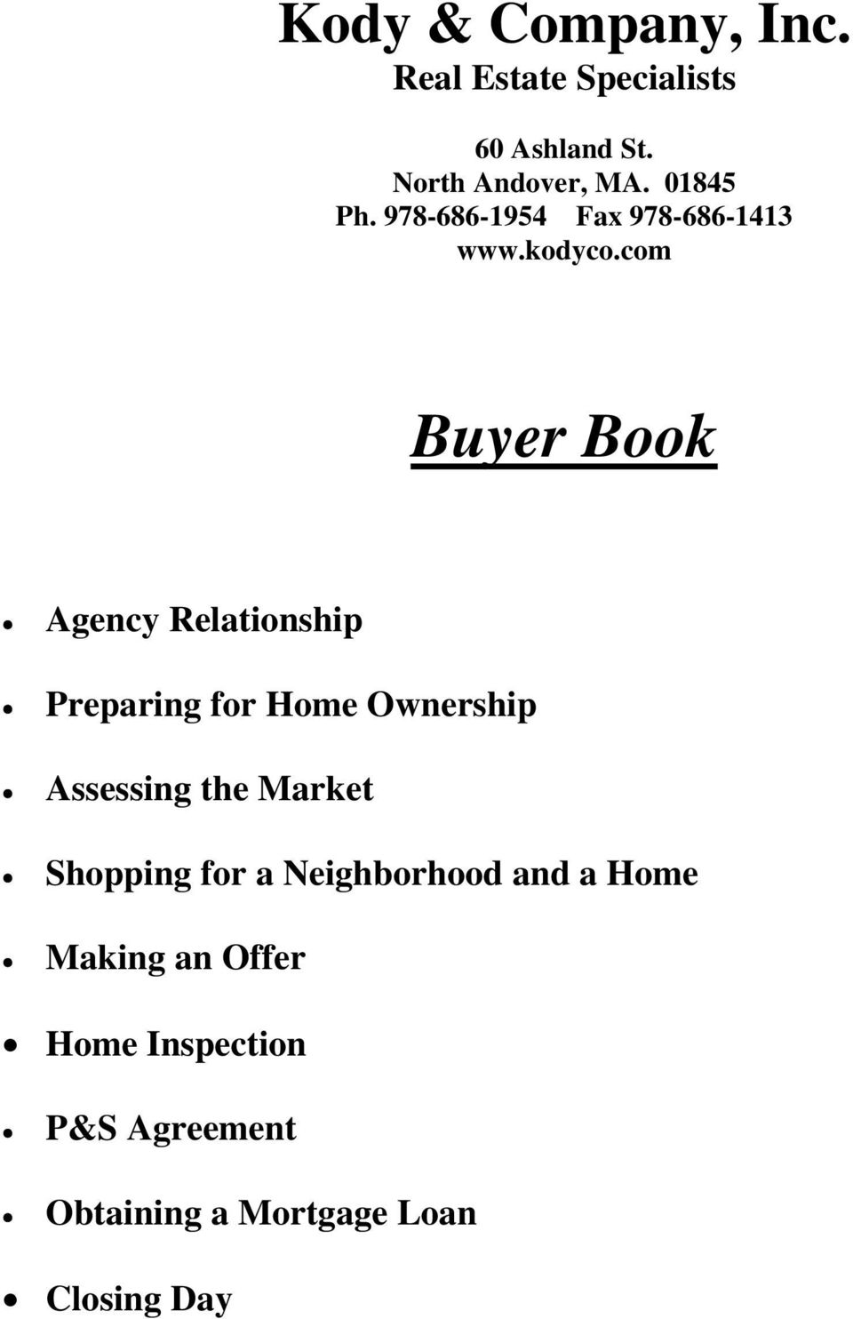 com Buyer Book Agency Relationship Preparing for Home Ownership Assessing the Market