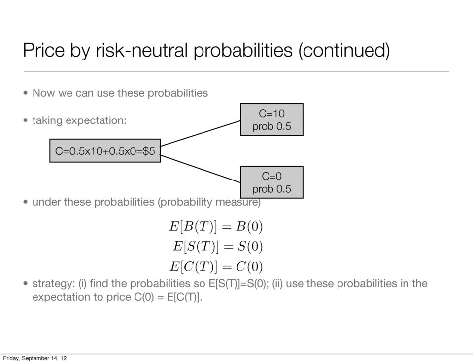 5 under these probabilities (probability measure) E[B(T )] = B(0) E[S(T )] = S(0) E[C(T )] =