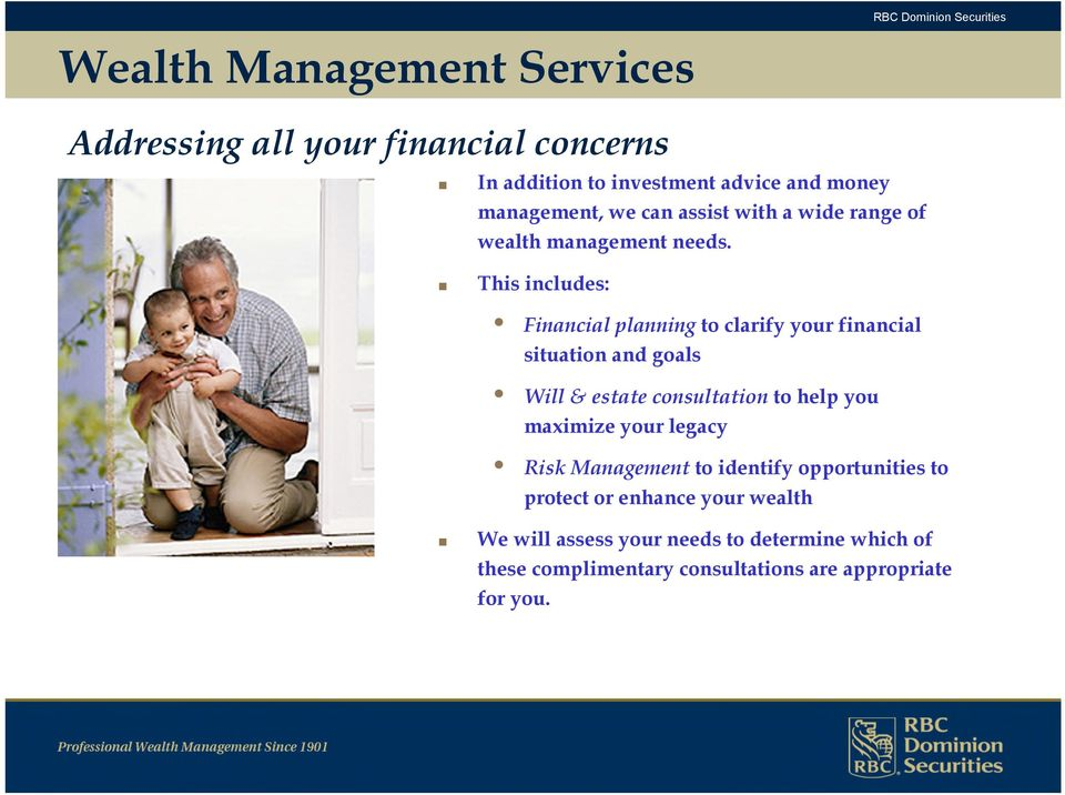 This includes: Financial planning to clarify your financial situation and goals Will & estate consultation to help you