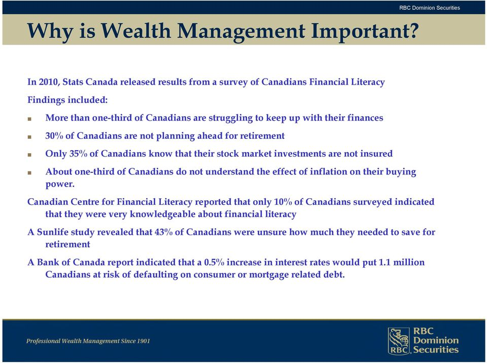 are not planning ahead for retirement Only 35% of Canadians know that their stock market investments are not insured About one-third of Canadians do not understand the effect of inflation on their