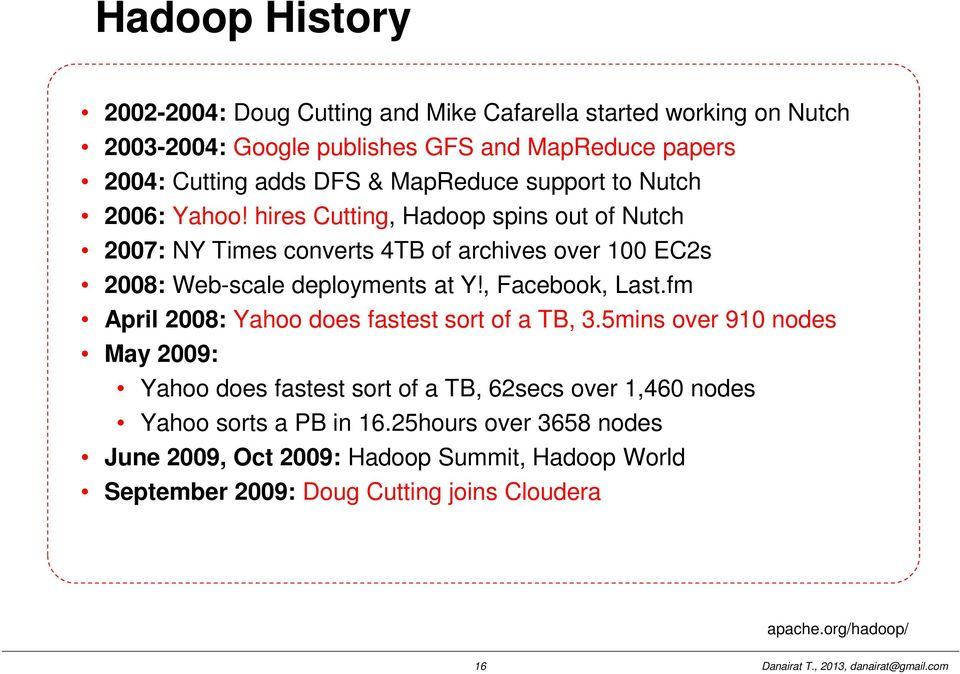 hires Cutting, Hadoop spins out of Nutch 2007: NY Times converts 4TB of archives over 100 EC2s 2008: Web-scale deployments at Y!, Facebook, Last.