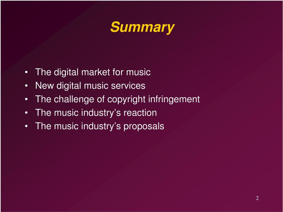 copyright infringement The music industry