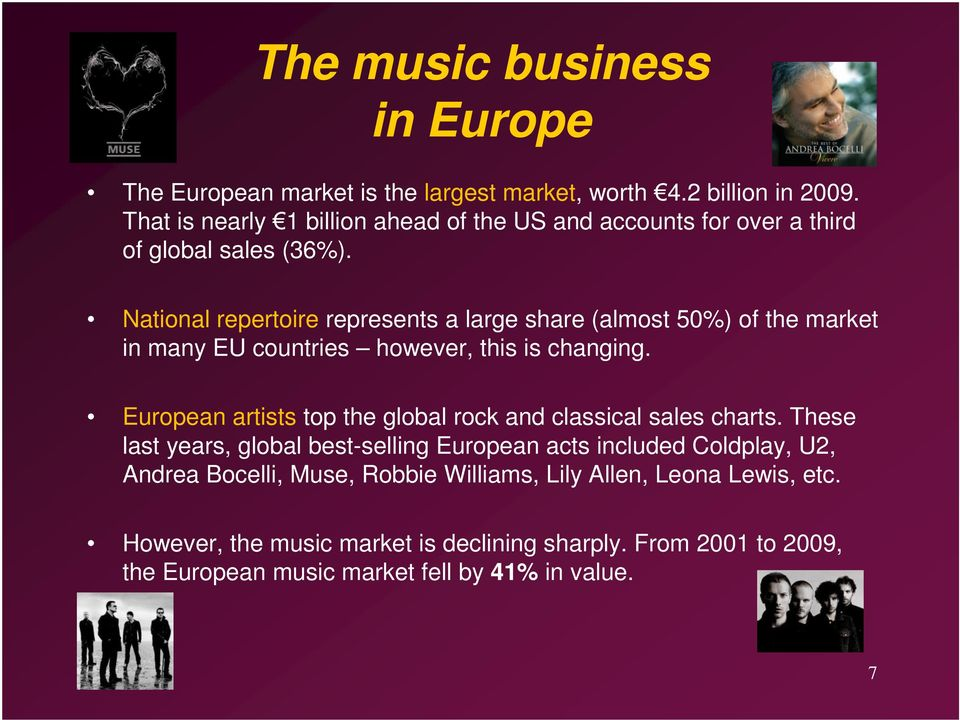 National repertoire represents a large share (almost 50%) of the market in many EU countries however, this is changing.