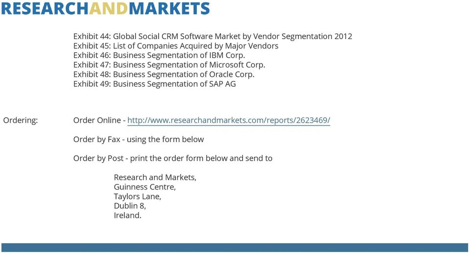 Exhibit 49: Business Segmentation of SAP AG Ordering: Order Online - http://www.researchandmarkets.