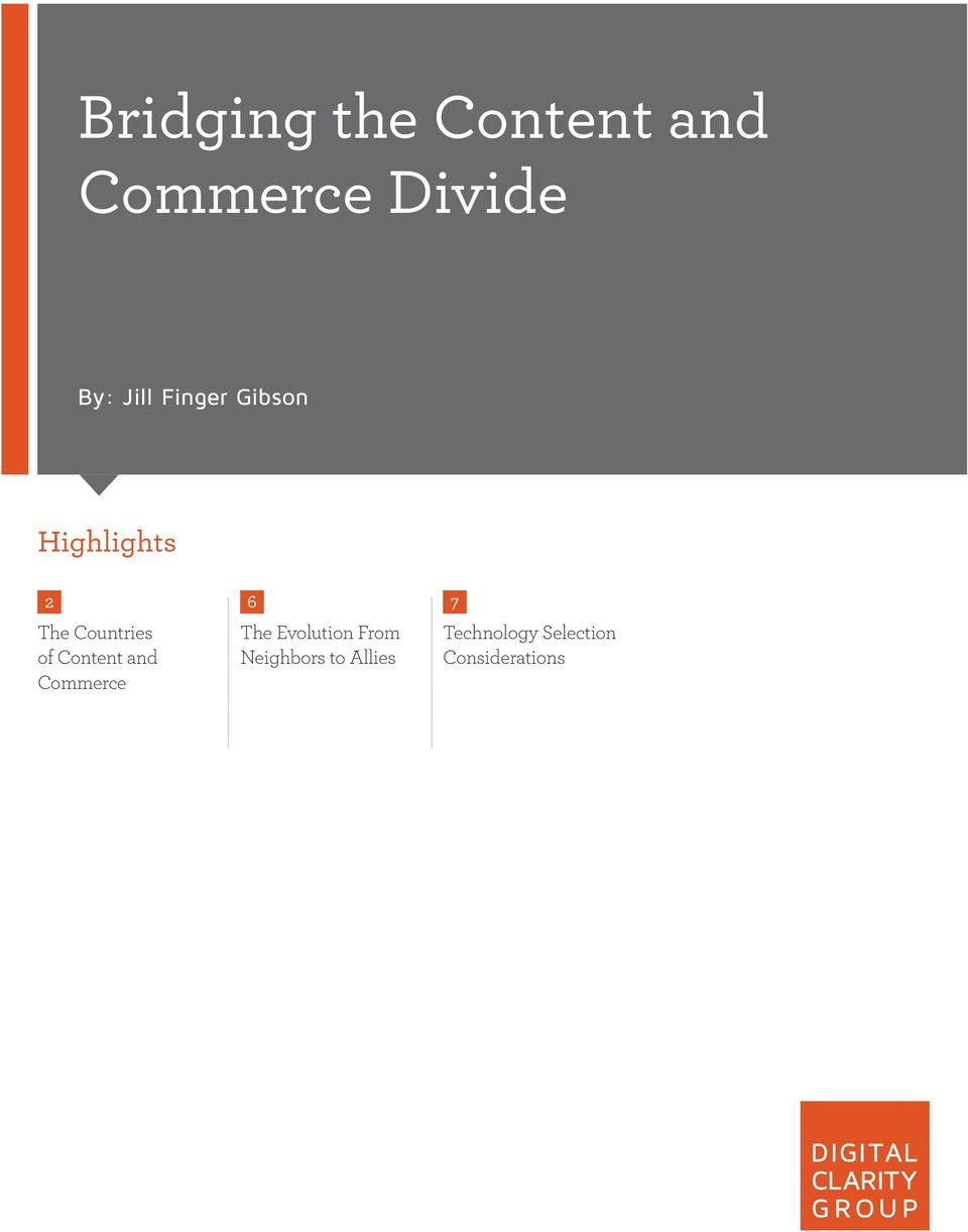 Content and Commerce 6 The Evolution From