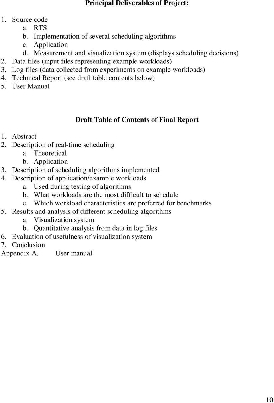 User Manual Draft Table of Contents of Final Report 1. Abstract 2. Description of real-time scheduling a. Theoretical b. Application 3. Description of scheduling algorithms implemented 4.