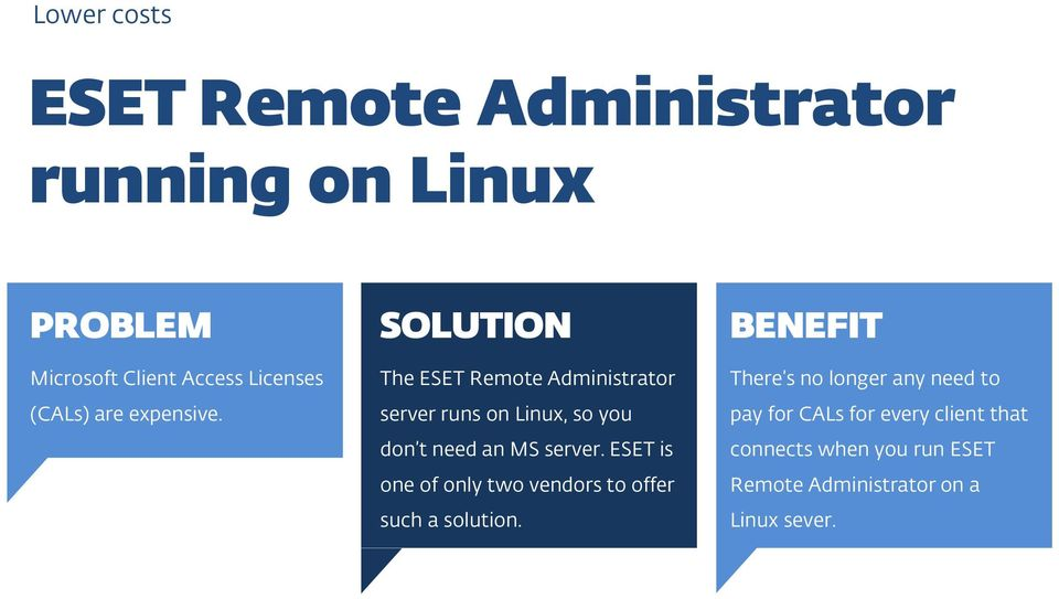 The ESET Remote Administrator server runs on Linux, so you don t need an MS server.