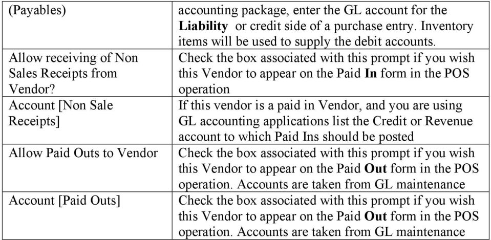 Inventory items will be used to supply the debit accounts.