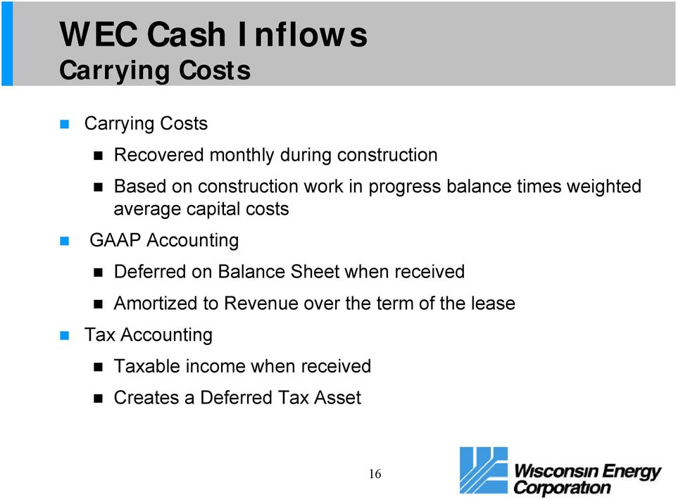GAAP Accounting Deferred on Balance Sheet when received Amortized to Revenue over the