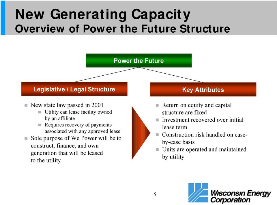will be to construct, finance, and own generation that will be leased to the utility Key Attributes Return on equity and capital structure