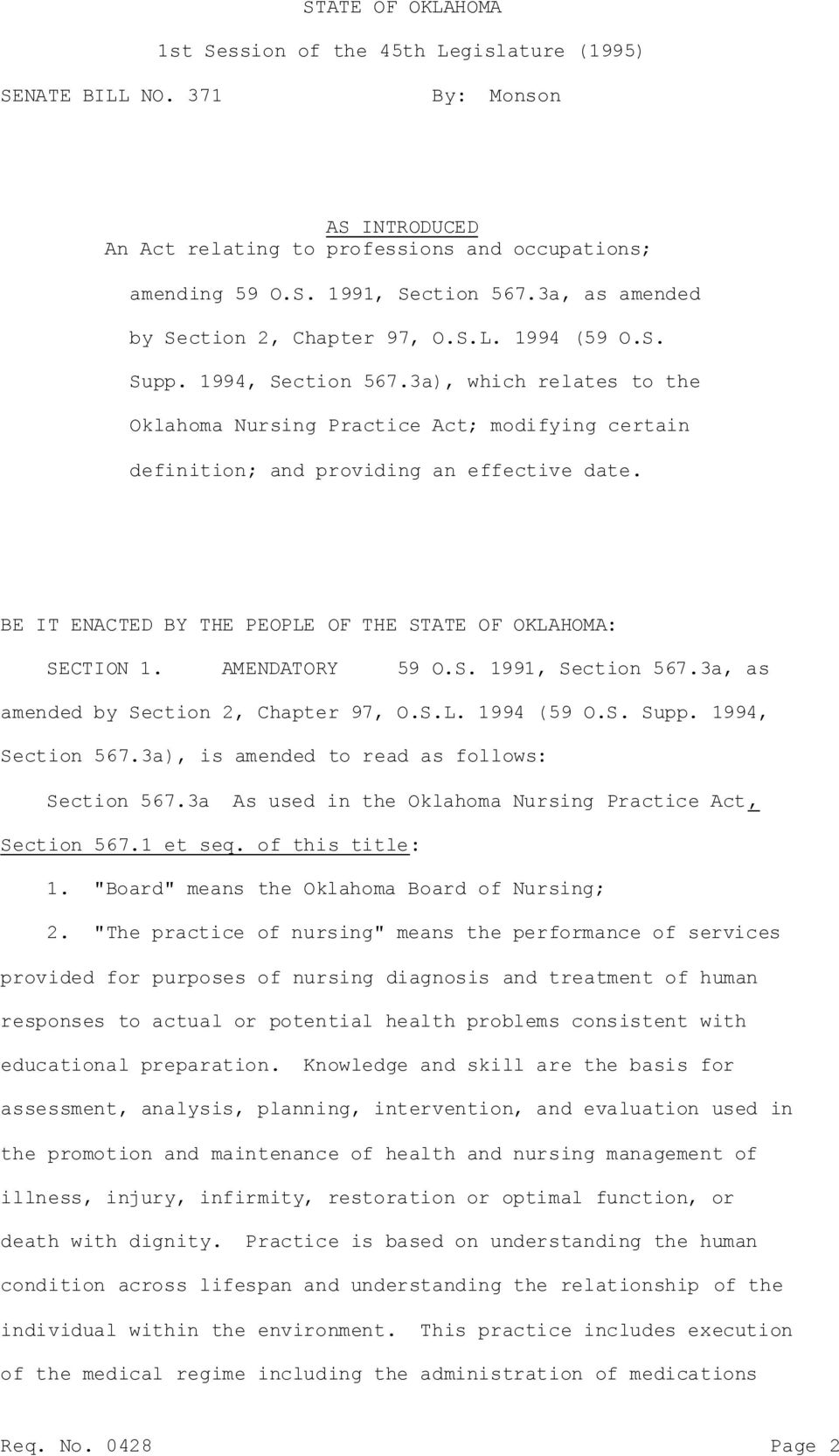 3a), which relates to the Oklahoma Nursing Practice Act; modifying certain definition; and providing an effective date. BE IT ENACTED BY THE PEOPLE OF THE STATE OF OKLAHOMA: SECTION 1.