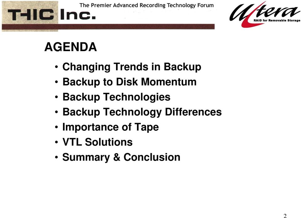 Backup Technology Differences Importance